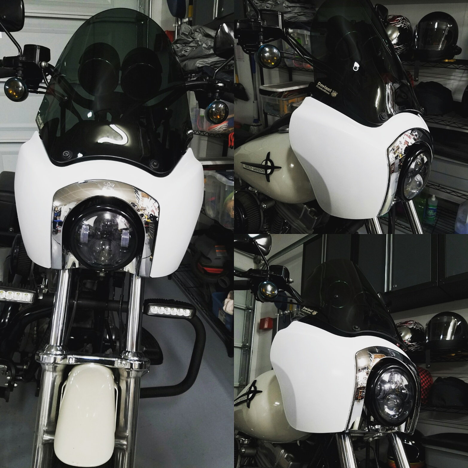 Got the install finished on Deviant Fabrication's FXDXT fairing. Used some  white plasti dip until I settle on a paint job.
