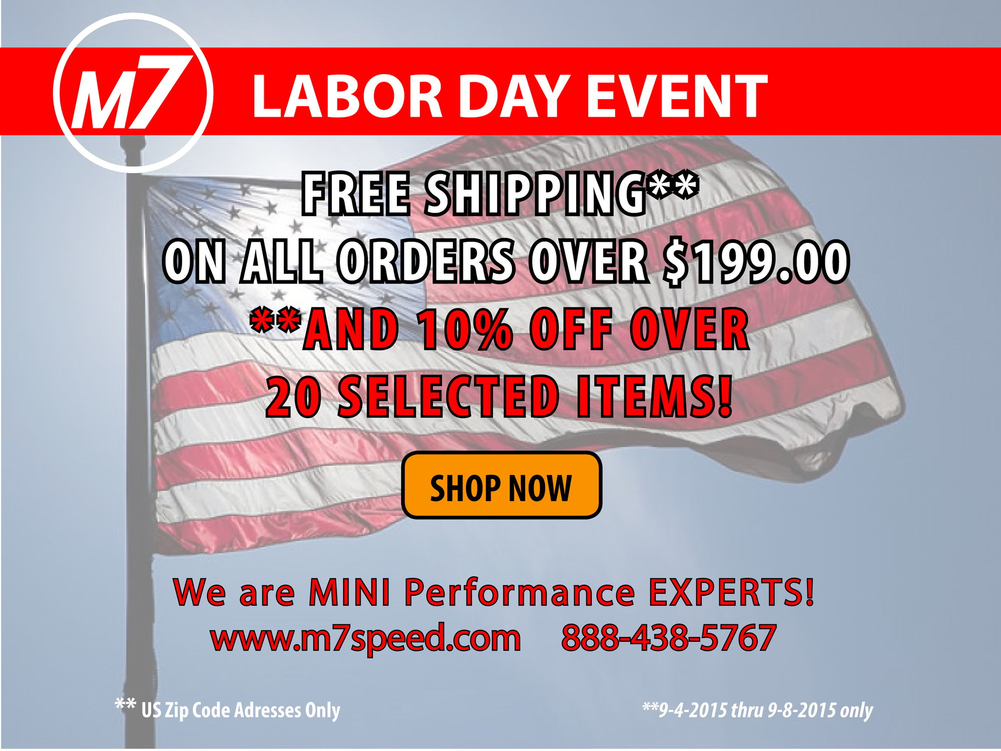 Labor Day Sale M Speed FREE SHIPPING  Off Selected Items - Us zip codes list all