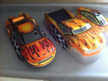 I was given the one on the left for reference.  Did my own flames and color choices.