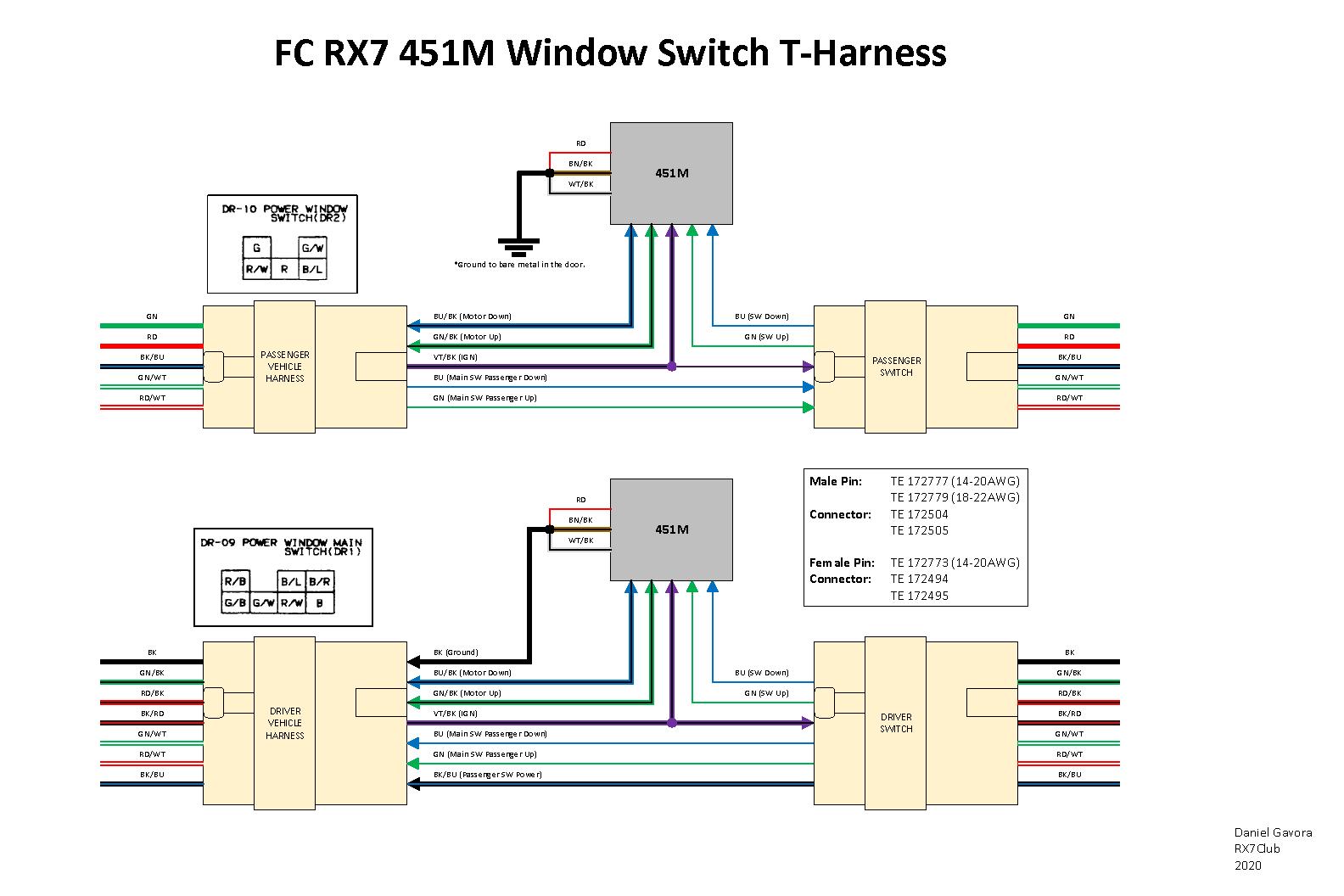 Diy  Fc Rx7 Window Switch Relay Mod Pnp T-harness - Rx7club Com