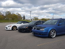 my friends.  s2k on volkgtc's, golf on work equip 05's and work meister s1R's