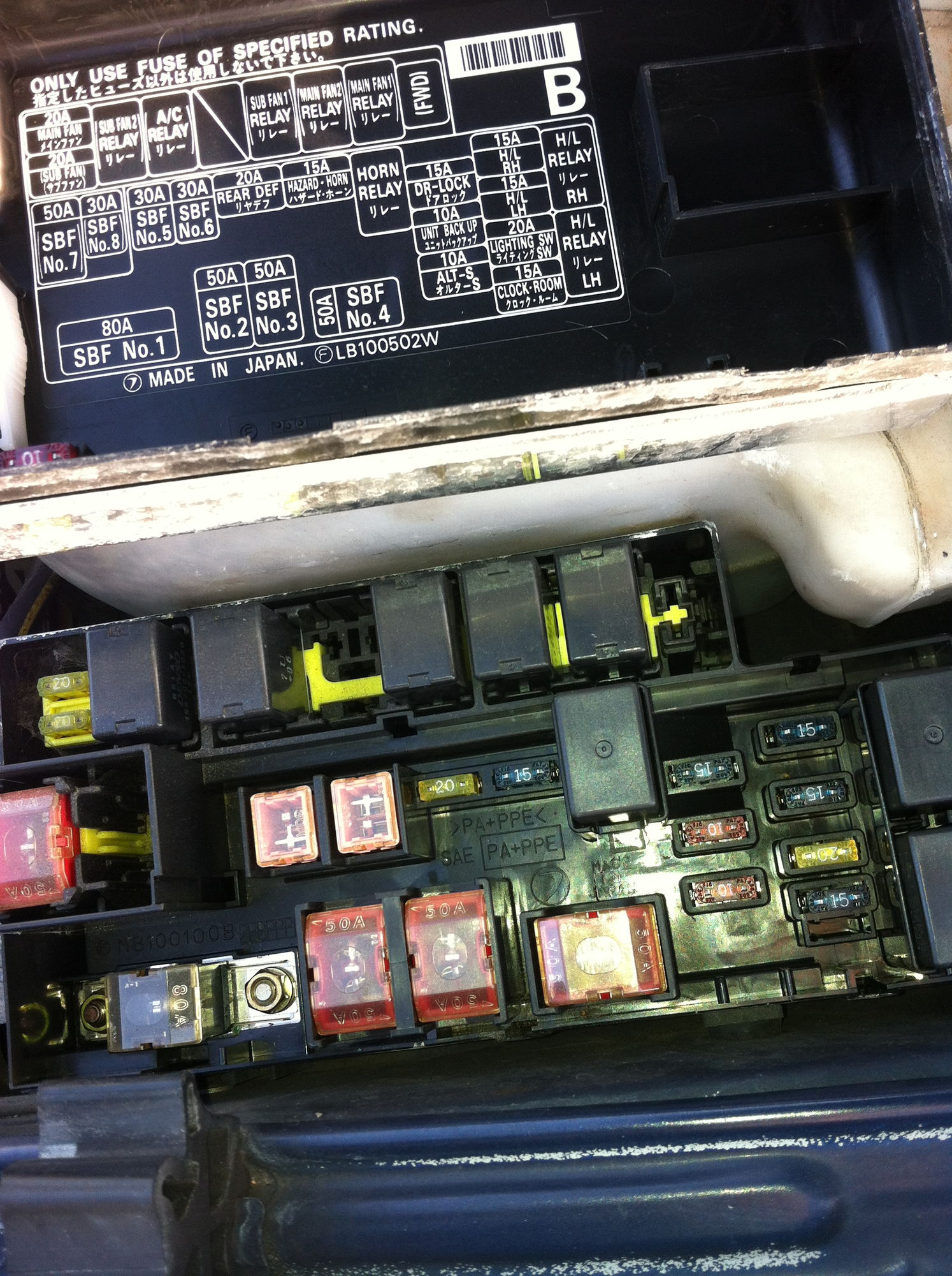 Mr2 Turbo Or Integra Type R Subaru Enthusiast Forum Fuse Box Ok So Here Is My Fusebox In The Bonnet With Diagram Of What