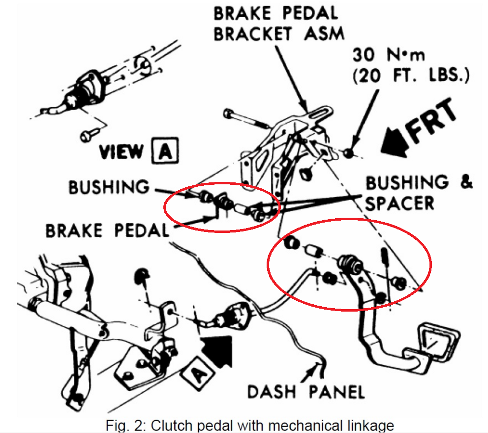 1991 Camaro Rs Third Generation F Body Message Boards 1986 Steering Column Wiring Diagram The Upper Mount Where There Are Some Spacers On Each Side And It Is Same Basic Bolt As Brake Pedal Allows Clutch To Move