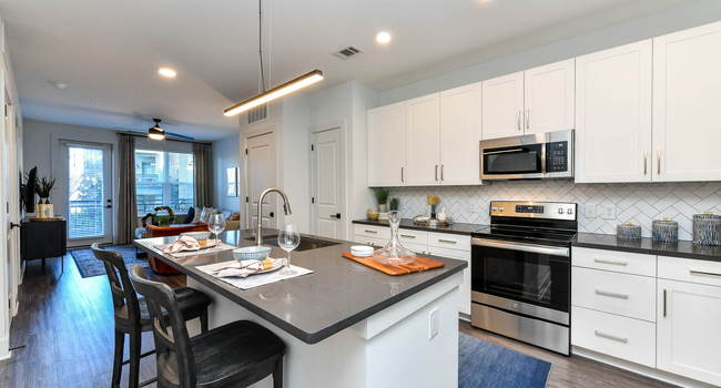 Our gourmet kitchens feature designer finishes and stainless steel appliances.