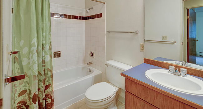 A bathroom with shower and tub