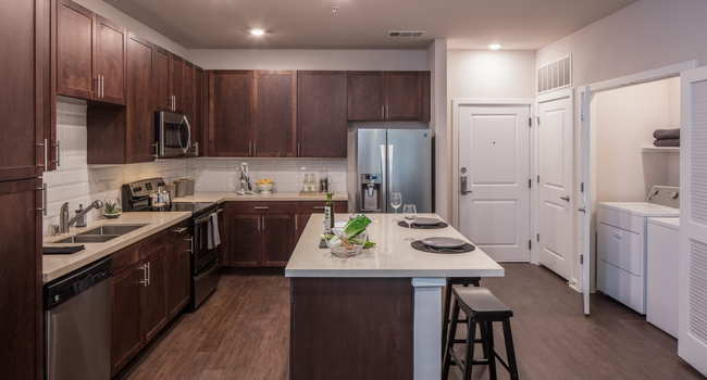 kitchen with island at Griffis Riata apartments in Austin